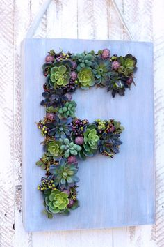 Check out this Fun Monogram Faux Succulent Wreath!! Get all the project details at fynesdesigns.com