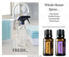 I love a fresh home scent, and freshly washed linens! To keep things smelling clean, use this spray with your favorite essential oil. Visit my Facebook page <<<Essential Oil My Life>>>