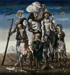 Vanguarda Expressionismo: Pintura da série Os Retirantes, de Candido Portinari.(1944) Portinari expõe o sofrimento dos migrantes, representados por pessoas magérrimas e com expressões que transmitem sentimentos de fome e miséria.