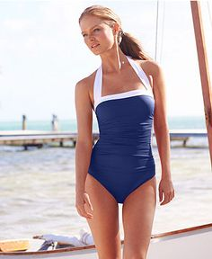This is the swimsuit I really want: Lauren Ralph Lauren Ruched Tummy-Control Halter One-Piece Swimsuit - Swimwear - Women - Macy's