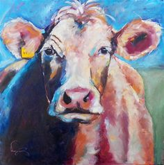 """COLORFUL COW PAINTING by OLGA WAGNER"" - Original Fine Art for Sale - © Olga Wagner"