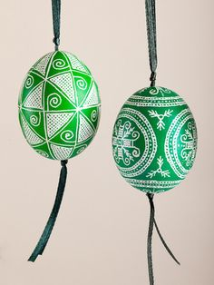 Green Pysanka Chicken Egg Ornament with ribbon