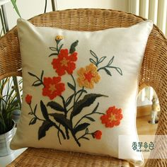 I could make this pillow. Garden Embroidery, Simple Embroidery, Embroidery Transfers, Embroidery Needles, Hand Embroidery Stitches, Crewel Embroidery, Embroidery Applique, Beaded Embroidery, Embroidery Patterns