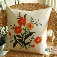 Summer Garden Embroidery Pillow