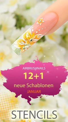 """Jetzt mit einem einigen Klick alle neuen """"Januar-"""" Klebeschablonen für Nailart Airbrush ansehen! Airbrush Nailart, Nail Studio, January"""