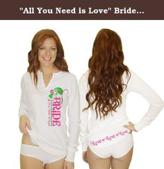 """""""All You Need is Love"""" Bride Night Shirt (L (12-14)). Bridal Pajamas make the perfect bridal shower gift or bachelorette party. Our super soft & lightweight thermal is THE PERFECT sleep shirt for summer or winter! The shirt can also be worn out with a pair of jeans. Classy Bride keeps it fun and flirty with this set! Our perfect combination includes our button-down thermal night shirt. Thermal is 100% cotton. Available in white with the """"All You Need is Love"""" logo printed in fuchsia and..."""