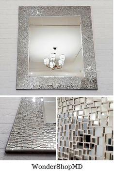Large wall mirror x Full length mirror/ Mosaic wall mirror/ Modern mirror wall/ Made to order Mirror Mosaic, Diy Mirror, Wall Mirror, Mirror Tiles, Mosaic Art, Wall Tiles, Glitter Tiles, Decoration, Wall Decor