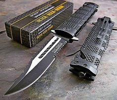 Tac-Force Black Spring Assisted Open Sawback Bowie Tactical Rescue Pocket Knife in Collectibles, Knives, Swords & Blades, Folding Knives | eBay