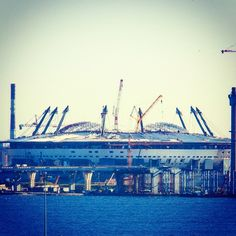 This is the new soccer stadium in St. Petersburg for the World Cup 2018 in Russia. #worldcup2018