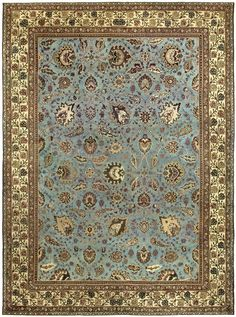 Antique Indian Rug with blue floral ornaments. Interior decor with antique ornamental rug #rug #interior #decor
