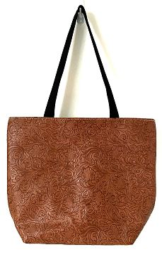 ALMZT-Caramel Embossed faux leather
