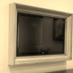 Awesome idea.hide the tv in a frame or make one from crown molding from a local hardware store