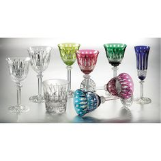 set of six bohemian crystal cut wine glasses vintage european. Black Bedroom Furniture Sets. Home Design Ideas