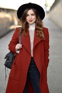 quality design d4261 bb0b7 Brick red is the season s most talked about shade, and so a longer-length  coat in this sultry color is a must-have style item. Paired with dark blue  denims ...