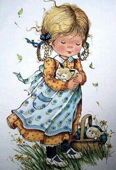 Cute Images, Cute Pictures, Vintage Images, Vintage Art, Sarah Key, Holly Hobbie, Tatty Teddy, Cute Illustration, Vintage Children