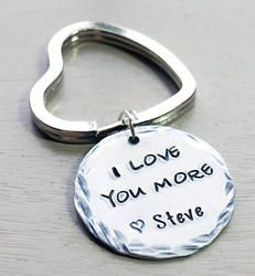 I Love You More Key Chain Personalized Hand Stamped
