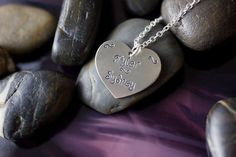 Heart pendant necklace; personalized with couple's names for wedding, anniversary, or engagement.