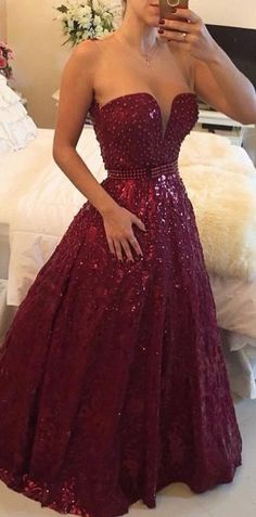 Gorgeous Sweetheart Beadings A-Line Sleeveless Prom Dress Shinning Floor Length Evening Gowns Prom Dresses_Prom Dresses_Special Occasion Dresses_Buy High Quality Dresses from Dress Factory Buy Dress, Dress Up, Dress Prom, Party Dress, Maroon Prom Dress, Dress Long, Bridesmaid Dress, Burgundy Dress, Dress Night