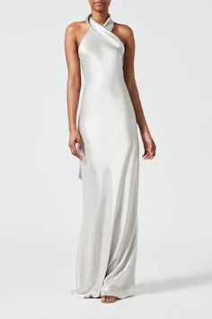 Shop the latest collection of Galvan Twist Halter Neck Satin Dress from the most popular stores - all in one place. Similar products are available. Satin Gown, Satin Dresses, Long Dresses, Evening Dresses, Formal Dresses, Silver Grey Dress, Bias Cut Dress, Galvan, Linda Evangelista