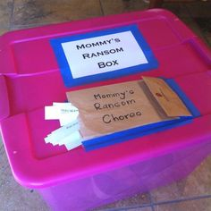 """Toy Ransom Box... for all those toys left out after you've asked them to put them away.  Kids take a chore to do to 'pay' for the toys release.  Chores range from washing a mirror to 20 jumping jacks while singing """"I am a clean machine!"""" LOL! =)"""