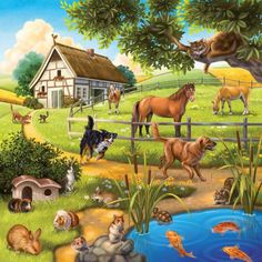 EverShine DIY Diamond Painting Cross Stitch Scenery Pictures Of Rhinestones Diamond Embroidery Landscape Living Room Decor Farm Animals, Animals And Pets, Cute Animals, Paradise Pictures, Scenery Pictures, Paradise On Earth, Animal Paintings, Pet Birds, Creatures