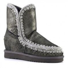 Mou Eskimo Wedge Short Boots #Women Dust Black. #summersale