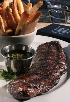 8 oz. Angus Skirt Steak – Chimichurri sauce with choice of fries, side salad, Napa apple slaw, quinoa salad or cup of soup.