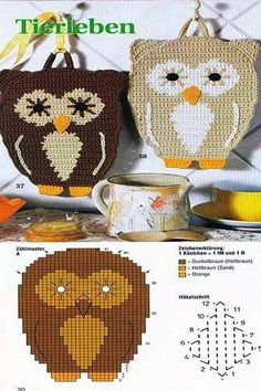Leuke Pannenlap haken met diagram / would this not make a wonderful purse? Crochet Owls, Crochet Potholders, Crochet Motif, Crochet Animals, Knit Crochet, Crochet Patterns, Free Crochet, Crochet Hot Pads, Owl Crafts