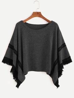 Grey Contrast Crochet Fringe Hem Poncho Sweater -SheIn(Sheinside) Mobile Site