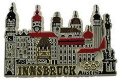 """Innsbruck, the capital of Tyrol in western Austria, is located in the """"heart of the Alps"""" and is an ideal place for skiing in winter and mountaineering in summer. (http://www.internationalgiftitems.com/innsbruck-austria-magnet)"""