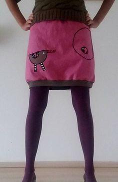 AwaDe / Veselá jeansová sukně PTÁČEK s kapsou