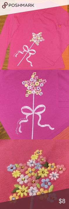 "Adorable embroidered pink long sleeve So cute!!! Embroidered long sleeve says ""wishes come true"" with a flower-wand. SO CUTE. My daughter is growing too fast. No stains or holes. Gymboree Shirts & Tops Tees - Long Sleeve"