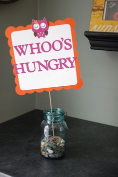 Owl Sign, Owl Buffet Sign, Owl Food Sign, Owl Whos Hungry, Owl Birthday, Owl Party Supplies, Owl Baby Shower. $12.00, via Etsy.