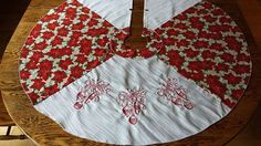 Embroidered with Ornaments Approximately 40 in diameter. Handmade - Cotton and Polyester. Tree Skirts, Christmas Tree, Closure, Embroidery, Ornaments, Sewing, Holiday Decor, Cotton, Handmade