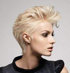 A model with a short hair quiff