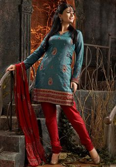 Dark blue brocade kameez designed with self weave, bullion, beads, stones, cutdana and resham work. Maroon color art silk churidar and chiffon dupatta is available. (Slight colour variation is possible.) data-pin-do=