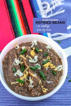 Slow Cooker Refried Beans are perfect for your Cinco de Mayo celebrations! So easy and the slow cooker does all of the work! #cincodemayo #Mexicanrecipes #frijoles #refriedbeans #slowcooker #crockpot #binkysculinarycarnival