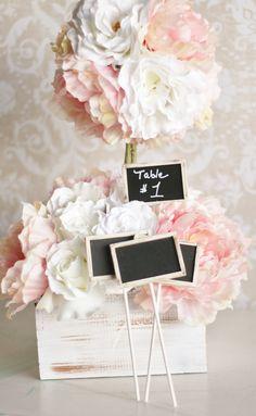 Chalkboard Wedding Signs Shabby Chic Decor (item P10001). $20.00, via Etsy.