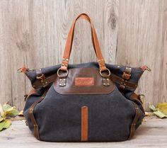 Canvas and leather bag Grishina