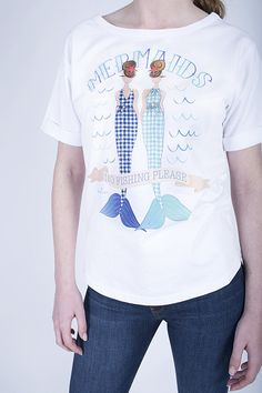 White short-sleeve sweat-T featuring our fashion illustrations from our Mermaids collection.  Ethically made in London. Eco fashion, ethical fashion, fair trade clothing, eco friendly clothing, organic clothing, sustainable fashion, made in UK. Mermaids collection by Etrala London. SS16. Summer 2016.