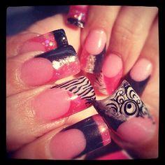Pink, black, silver nails by Tara