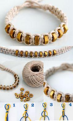 DIY {macramé: square knot} string & hexnut bracelet. Supplies: Macrame Cord & 9 hexnuts.