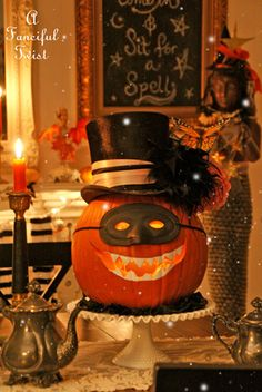 On the heels of a scrumptious Halloween bash. We slip into a proper all hallow's eve. Halloween Pumpkins, Halloween Crafts, Halloween Party, Halloween Decorations, Halloween Ideas, Holidays Halloween, Happy Halloween, Scary Circus, Halloween Entertaining