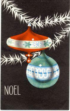 Vintage 1940's 50's Christmas Greeting Card Ornaments on Tree Against Black | eBay