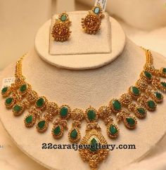 Uncut Diamond Emerald Set - Jewellery Designs