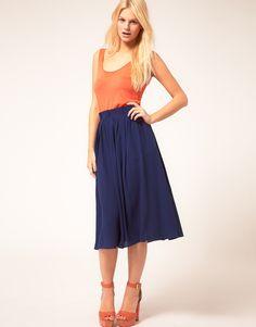 Asos Simple Full Skirt With Paperbag Waist in Blue (navy)