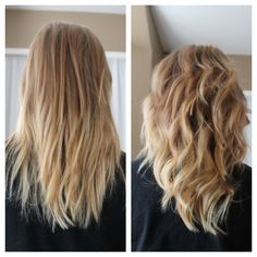 My beachy ombré look    #curl #straight #beachyombre #ombre #beachy #hair #blonde #blond #mediumlength