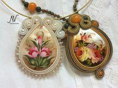 "Soutache embroidery by Anneta Valious: ""Russian"" Soutache Pendant, Soutache Necklace, Soutache Tutorial, Beaded Jewelry, Handmade Jewelry, Zipper Crafts, Braids With Beads, Embroidery Jewelry, Swarovski"