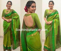 Actress Regina Cassandra draped a parrot green kanjeevaram silk saree from Taia by Tanmayi Reddy at the Sankarabharanam Movie Awards. Saree Blouse Neck Designs, Fancy Blouse Designs, Bridal Blouse Designs, Dress Designs, Saris, Sari Bluse, Lehenga Blouse, Saree Dress, Stylish Blouse Design