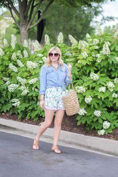 Chambray top and shorts, summer outfit ideas, straw bag, long bob, lob.